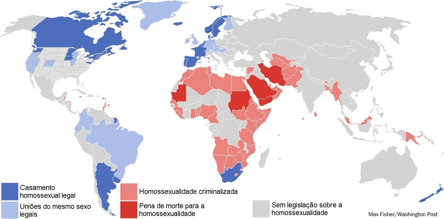 Fig.1 - Mapa dos direitos ao casamento entre homossexuais. Fonte: Max Fisher/Washington Post